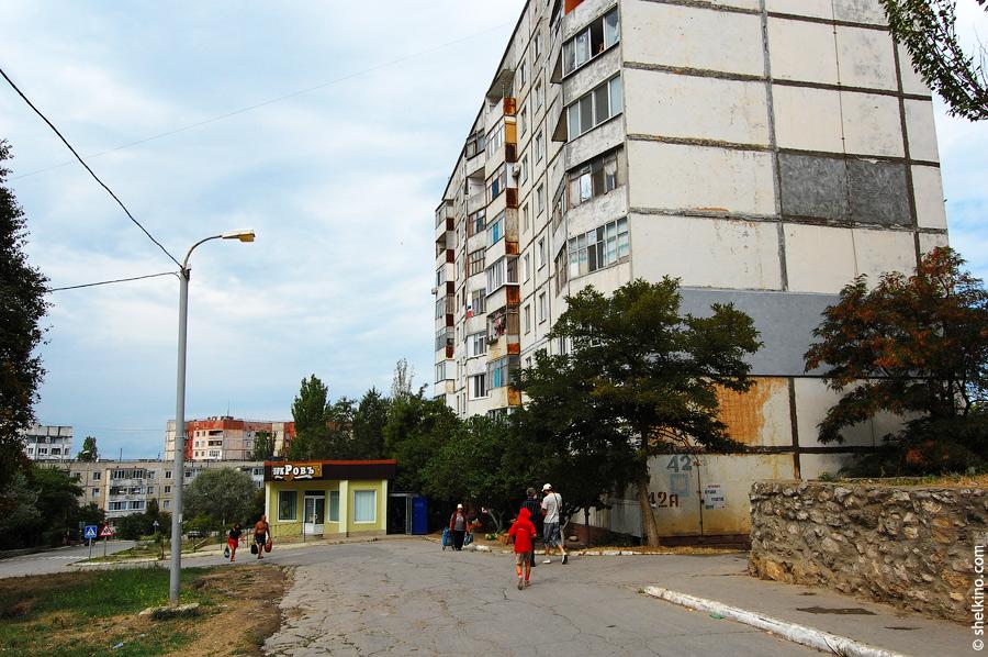 Вид со стороны дома 43. Слева направо дома 88 (виднеющаяся вдали пятиэтажка), 42а (крупным планом слева)