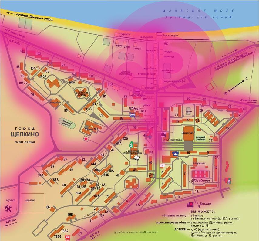 карта шума в Щелкино